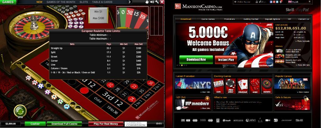 mansion casino roulette