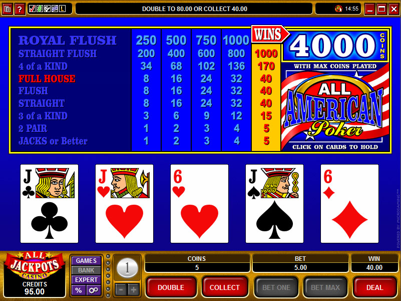 all american video poker pay table