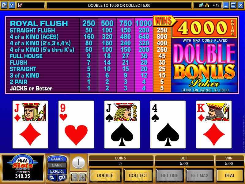 double bonus video poker pay table