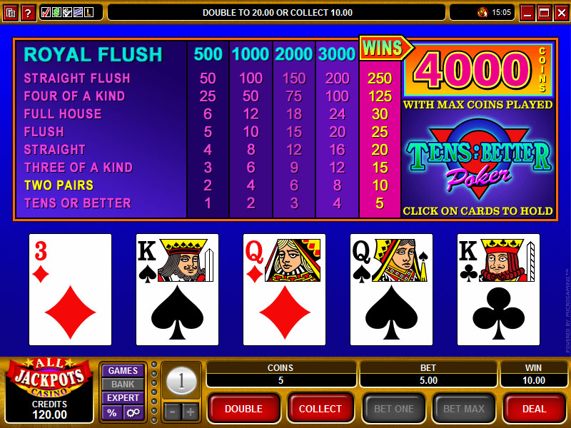 tens or better video poker pay table